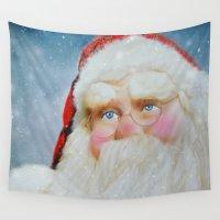 santa Wall Tapestries featuring Santa by Mary Timman