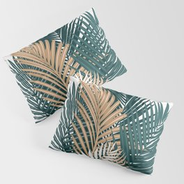 Gold and Green Palm Leaves Pillow Sham