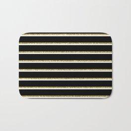 Black Gold White Stripe Pattern 2 Bath Mat