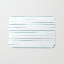 VA Healing Aire Blue - Angelic Blue - Soothing Blue Hand Drawn Horizontal Lines on White Bath Mat