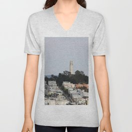 Streets Of San Francisco With Coit Tower Unisex V-Neck