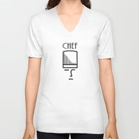 chef V-neck T-shirts featuring Chef by HebeTees