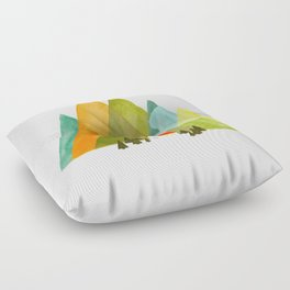 House at the foot of the mountains Floor Pillow