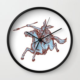 Valkyrie Warrior Riding Horse Spear Etching Wall Clock