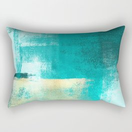 Minimal Abstract Deep Blue Seaside with Gold Rectangular Pillow
