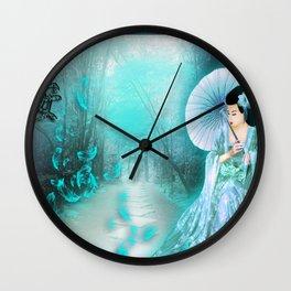 Geisha In Teal Wall Clock
