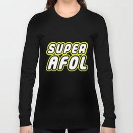 SUPER AFOL in Brick Font Logo Design by Chillee Wilson Long Sleeve T-shirt