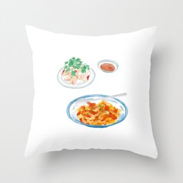 Watercolor Illustration of Chinese Cuisine - Scrambled Eggs with Tomatoes and chopped unflavored cold chicken | 番茄炒蛋和白斩鸡 Throw Pillow