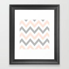 PEACH & GRAY CHEVRON Framed Art Print
