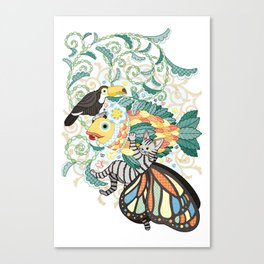 Plant fish and Butterfly cat and Toco toucan (remake) Canvas Print