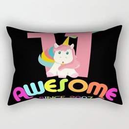 Awesome Since 2007 Unicorn 11th Birthdays Anniversaries Rectangular Pillow