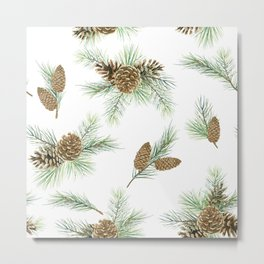 pine branches and cones pattern Metal Print