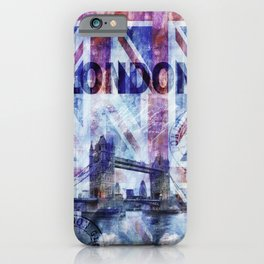 London Tower Bridge Mixed Media Art iPhone Case