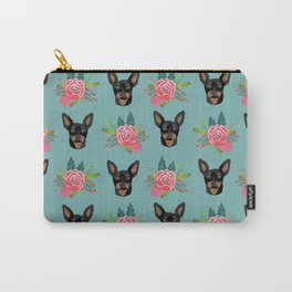 Min Pin miniature doberman pinscher dog breed dog faces cute floral dog pattern Carry-All Pouch