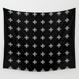 Geometric Swiss Cross Pattern (black background) Wall Tapestry