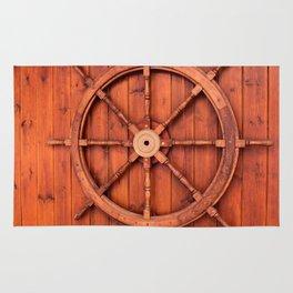 Nautical Ships Helm Wheel on Wooden Wall Rug