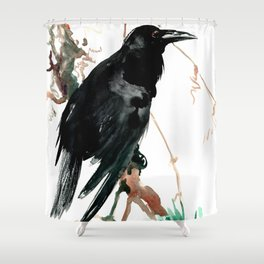 raven, raven crow artwork black brown Shower Curtain