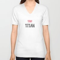 workout V-neck T-shirts featuring Workout Collection: Tiny Titan by Kat Mun