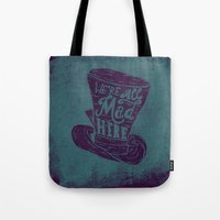 alice wonderland Tote Bags featuring Alice in Wonderland by Drew Wallace
