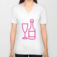 champagne V-neck T-shirts featuring ICNSRS - Champagne by Sillustration