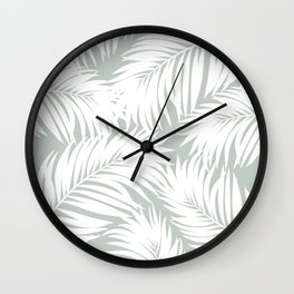 Palm Tree Fronds White on Rainwashed Maui Hawaii Tropical Graphic Design Wall Clock