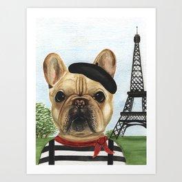 Chapo the French Bulldog in Paris Art Print