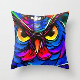 Owl Graffiti Street Art Camden London Throw Pillow