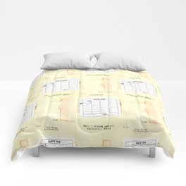 Library Book Date Due Card Comforters