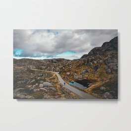 Norway | Rosendal | Range | Norge | Mountain Road | Alone | Traveler | Mountains | Mountaineer | Autumn | Adventure | Europe | Nature | Landscape | Amazing Fjell | Road Trip | Horizontal Metal Print