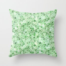 Pale Emerald and Pistachio Cobbled Patchwork Throw Pillow