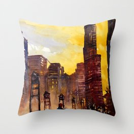 Painting of skyscrapers in downtown Chicago, Illinois- USA Throw Pillow