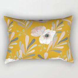 Anemones & Olives Yellow Rectangular Pillow