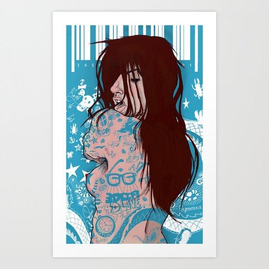 Ms. Tattoo-Girl Art Print