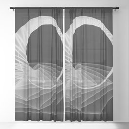 Black White Minimal Geometry Graphic Harmonic Abstract Line Sheer Curtain
