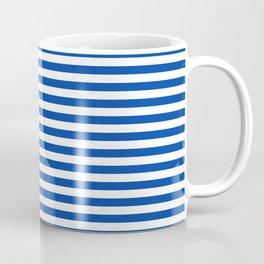 Geometric navy blue white nautical stripes pattern Coffee Mug