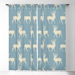 Mid Century Modern Deer Pattern Venetian Blue and Tan Blackout Curtain