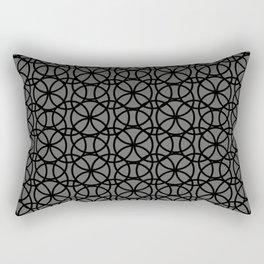 Pantone Pewter and Black Rings Circle Heaven, Overlapping Ring Design Rectangular Pillow