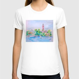 Elbow Reef Lighthouse Hope Town, Abaco, Bahamas Watercolor painting T-shirt