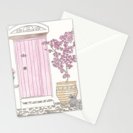 Pink Door and Flowers Mediterannean with Cat Stationery Cards