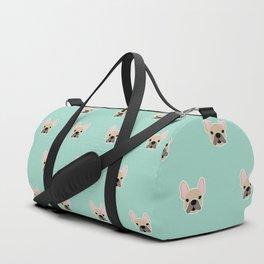 Fawn Frenchie Black Mask French Bulldog Print Pattern on Mint Green Background Duffle Bag