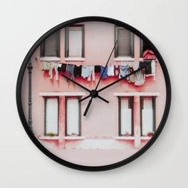 Laundry in Burano Wall Clock
