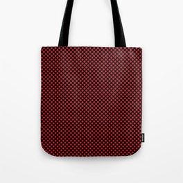 Black and Flame Scarlet Polka Dots Tote Bag