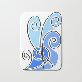blue waves lines Bath Mat