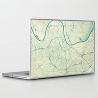 nashville Laptop & iPad Skins featuring Nashville Map Blue Vintage by City Art Posters