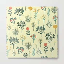 Dainty Yellow, Red, Teal & Cream Floral Pattern Metal Print