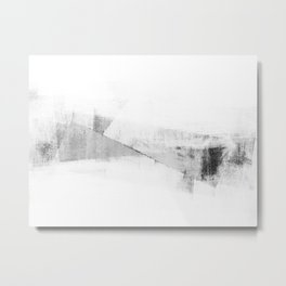 Grey and White Minimalist Geometric Abstract Metal Print