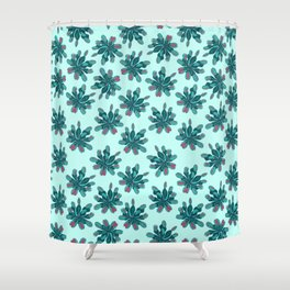 Venus Fly Trap on Blue Field Shower Curtain
