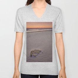 Red Sunset. Barrosa Beach. Cadiz Unisex V-Neck