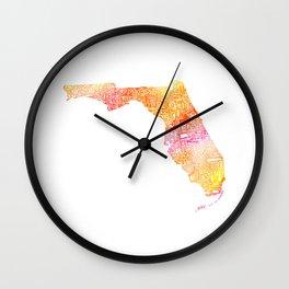 Typographic Florida - orange watercolor Wall Clock