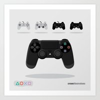 playstation Art Prints featuring Console Control: PlayStation by Crewe Illustrations